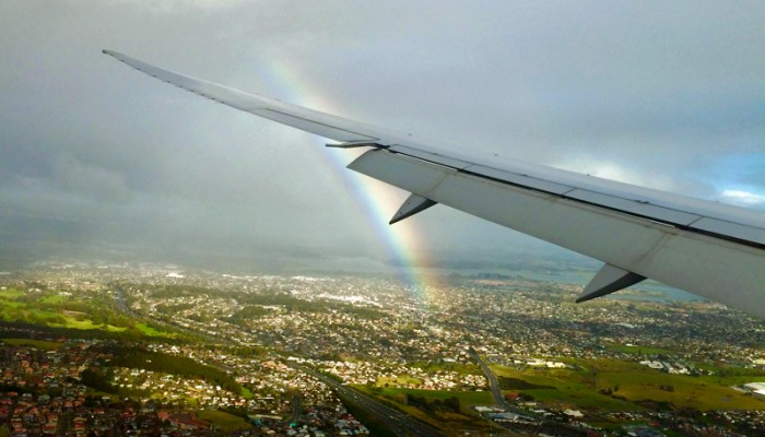 Rainbow Over Auckland from Airplane